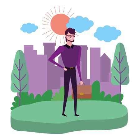 Businessman avatar with suitcase design