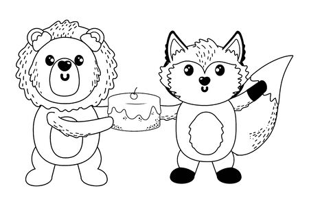 lion and fox cartoon with sweet food design