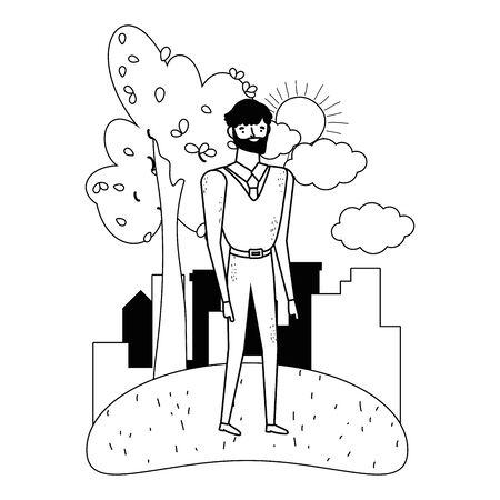 Isolated avatar man in park vector design