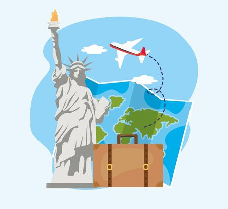 liberty statue with global map and baggage