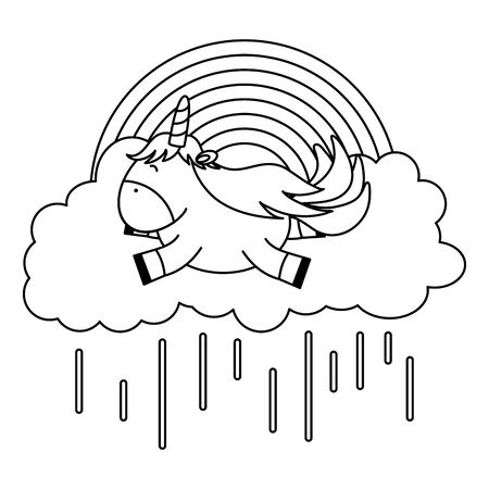 cute adorable unicorn floating in cloud rainy character