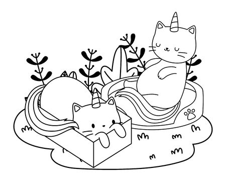 Unicorn cats cartoons vector design