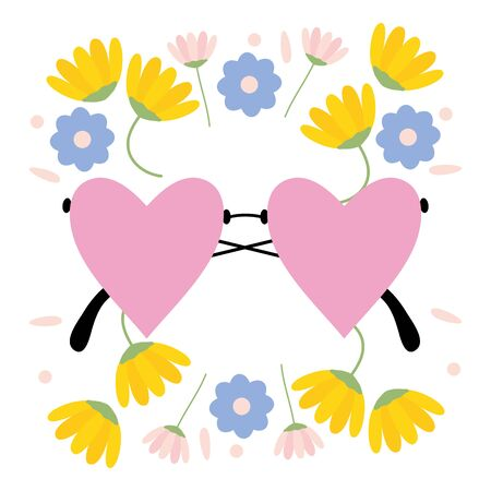fashion glasses with hearts love shape and floral wreath