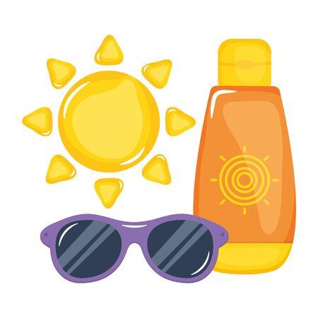 sun blocker bottle with sunglasses