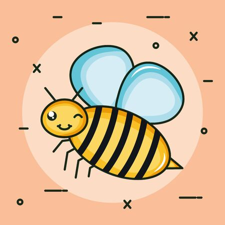 cute bee insect flying character Stock fotó - 133487160