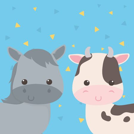 cute horse and cow animals farm characters Stock fotó - 133487161
