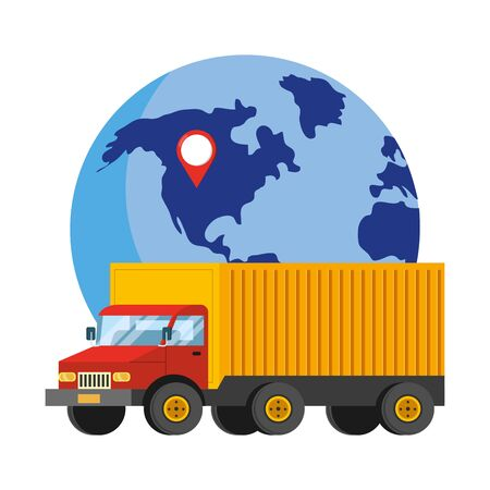 delivery tracking service shipping business logistic cartoon vector illustration graphic design