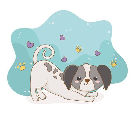 cute little dog mascot with hearts love character vector illustration design Foto de archivo - 133487175
