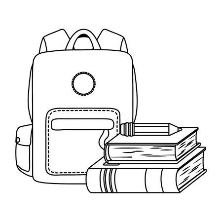 Diseño de bolsa, lección de estudio de educación de objeto de material escolar y tema de clase Ilustración vectorial
