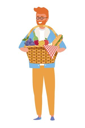 Man cartoon having picnic design, Food summer outdoor leisure healthy spring lunch and meal theme Vector illustration