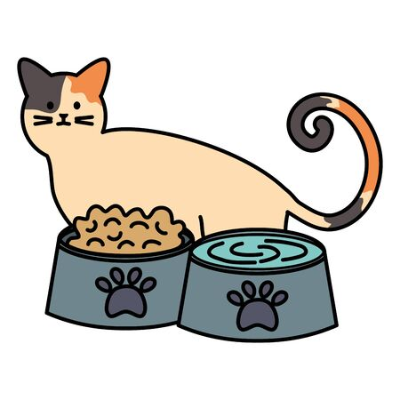 cute cat mascot with dishes food and water vector illustration design Ilustrace