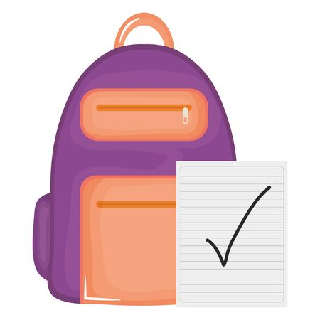 schoolbag with paper sheets supplies vector illustration design Illusztráció