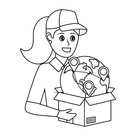 tracking and delivery logistic woman worker cartoon vector illustration graphic design