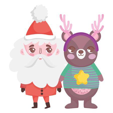 cute santa bear with horns and sweater merry christmas vector illustration
