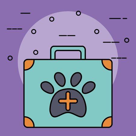 medical kit veterinary with pawprint vector illustration design