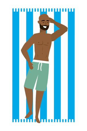 Boy with swimwear design, man summer male beach vacation and travel theme Vector illustration