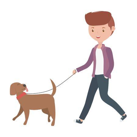 Boy with dog cartoon design Ilustração