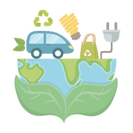 Car and icon set design, Eco city save planet think green and recycle theme Vector illustration