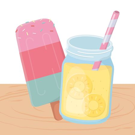 Juice and ice cream design, Summer vacation beach tropical relaxation and outdoor theme Vector illustration Illusztráció