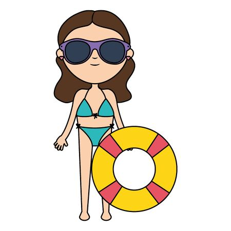 beautiful woman with swimsuit and float lifeguard vector illustration design Banque d'images - 133487585