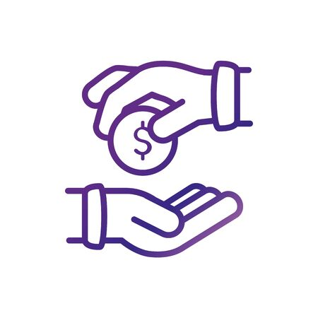 hand with coin giving charity help donation gradient line vector illustration
