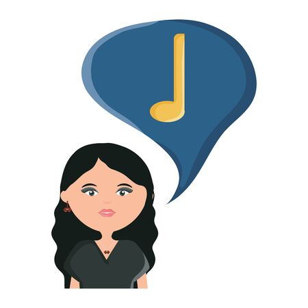 woman with smartphone and music note in speech bubble vector illustration 向量圖像