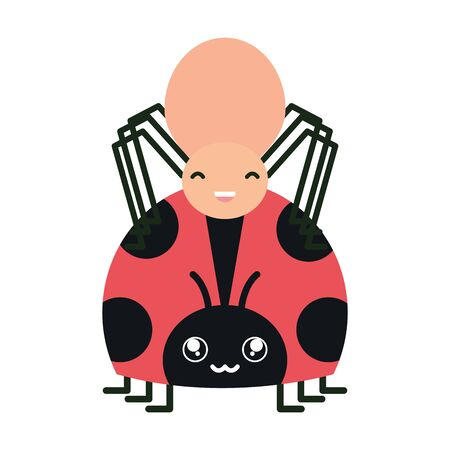 little spider and ladybug insects characters Stock fotó - 133487660
