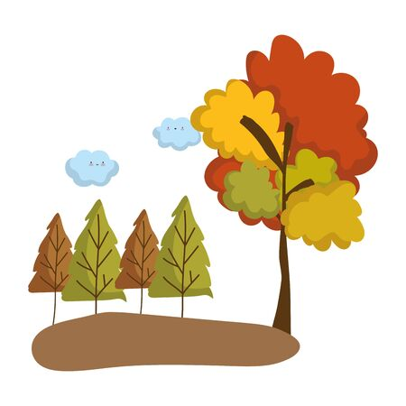 Abstract and autumn season trees design