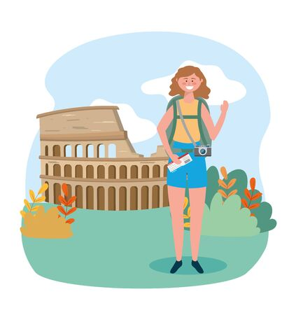 woman with backpack and ticket to colosseum destination Illusztráció