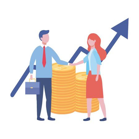 Businessman and businesswoman design vector illustration  イラスト・ベクター素材