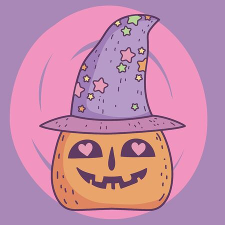 happy halloween celebration lovely pumpkin with hat Foto de archivo - 133487973