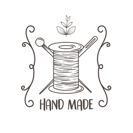 hand made sewing with thread and needles Stock Illustratie