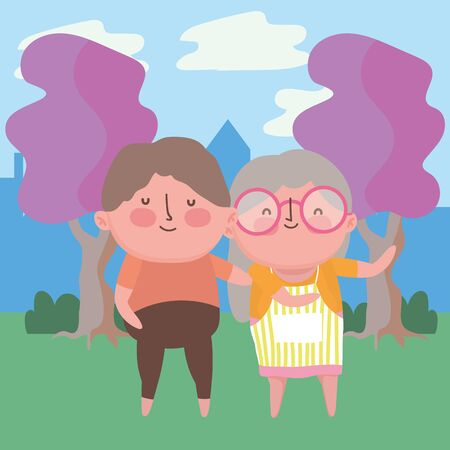 Grandmother and grandfather cartoon vector design