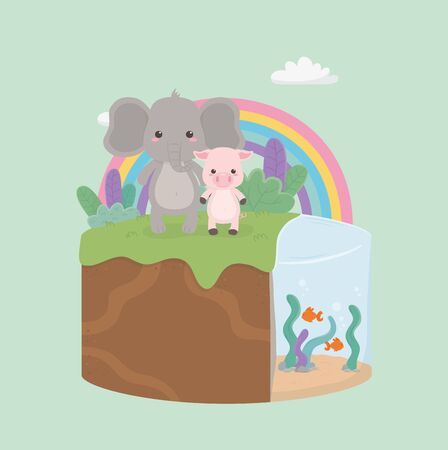 cute and little pig and elephant in the field Foto de archivo - 133482352
