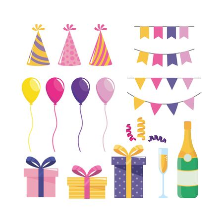 set of party decoration with balloons and presents to holiday event vector illustration Illustration
