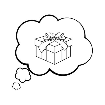 Pop art gift box inside thinking bubble cartoon vector illustration graphic design Ilustracja