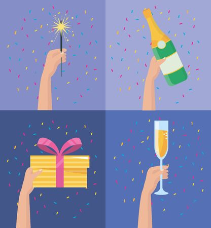 set of hands with sparkles fireworks and champagne bottle with glass and present to party event vector illustration Illustration
