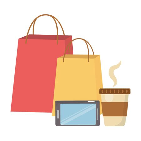 Shopping bag smartphone and coffee mug icon Archivio Fotografico - 133482592