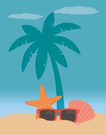 vector illustration Palm tree design, Summer vacation vector illustration