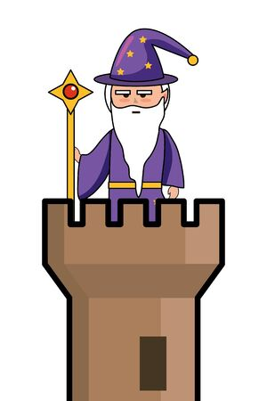 Isolated medieval and fantasy magician design vector illustration Ilustrace
