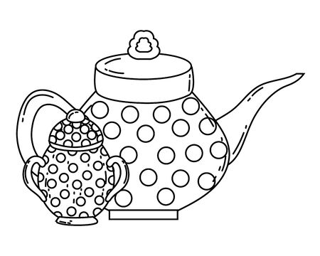 Coffee pot and sugar bowl design, Drink breakfast beverage bakery restaurant and shop theme Vector illustration Ilustrace