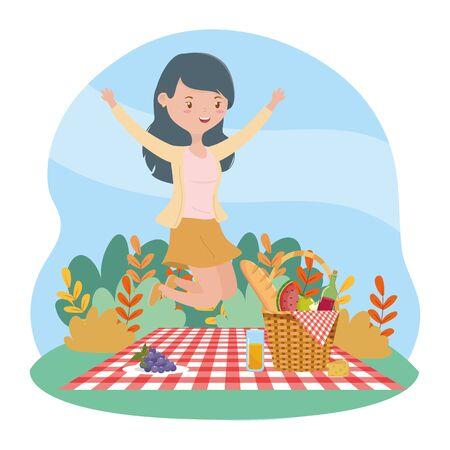 jumping happy woman basket food picnic nature landscape