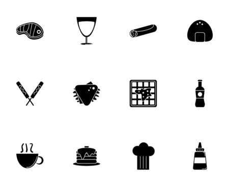 fast food menu icons set silhouette vector illustration