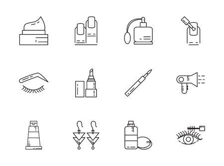makeup cosmetics jewelry feminine things icons set line style vector illustration 写真素材 - 133655009