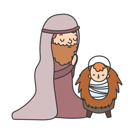 joseph with baby jesus manger nativity, merry christmas vector illustration