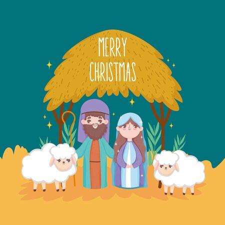 mary joseph with sheeps hut manger nativity, merry christmas vector illustration
