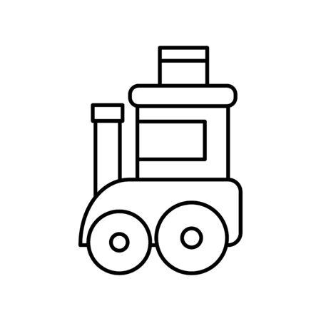 toy kids train wagon on white background vector illustration thick line
