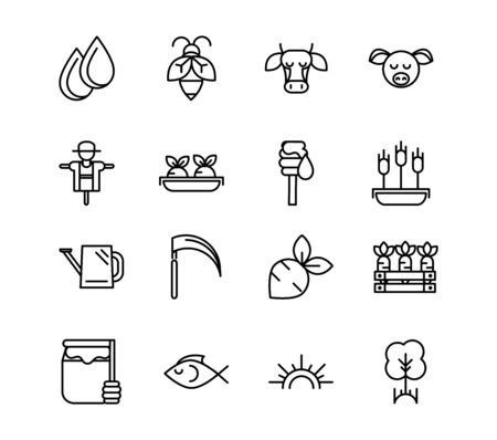 rural agriculture thick line icons set vector illustration Stock Illustratie