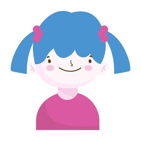 cute little girl portrait cartoon, children vector illustration Illustration