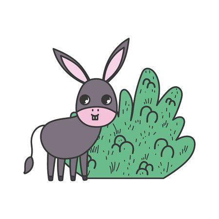 donkey bush nature cartoon design vector illustration